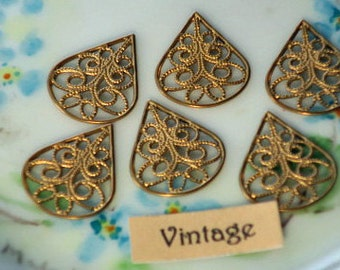 Vintage Filigree Findings Teardrop Victorian Base Settings Antique Brass (831WR )