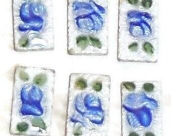 Guilloche cabochons,Vintage Guilloche,Enamel Cabochons, Handpainted Rose, Floral cabochons, Cloisonne cabochons,Rectagle cabochons, N908