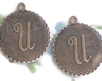 Vintage Initial U Charm,letter U charm,Charms Letter Old Fashioned Antique Silver Ox Tag #90