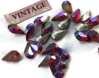 Vintage 10x6mm Pear Shape Rhinestones Ruby Aurora Teardrop Shape Foil (1215R)