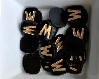 Letter W Cabochon, Vintage Initial W Cabochon, Antique Letter W, Jet Black Cabochon,Art Deco Cabochons, Glass Cabochons,