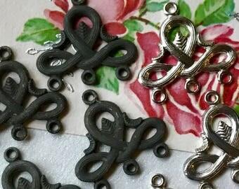 6 Matte Black Connectors,Vintage brass Connectors,Art Deco, Antique Brass Connectors,Victorian Findings,Silver Connectors,NOS #57
