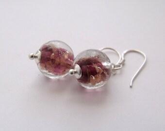 Brown Copper Lined Handmade Glass Bead Dangle Drop Sterling Silver Earrings