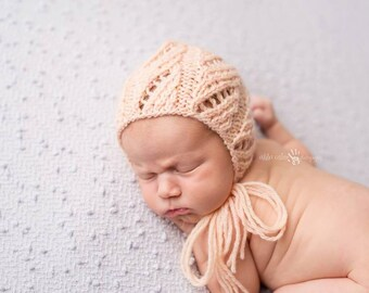 "PDF Knitting Pattern - Knit Bonnet Pattern - Newborn Photo Prop Pattern ""Tayler"""