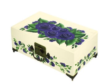 Hand Painted Jewelry Box with Mirror, 2 Trays - Deep Purple Roses on White Box, Green Leaves - Custom Floral Jewellry Box Keepsake Box