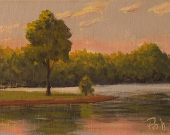Oil painting, landscape, sunset, trees, lake, 5x7