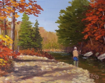 "Fly Fishing Art, trout fishing, mountain stream, 6""x8"", autumn landscape"