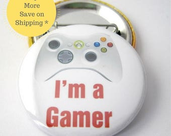 "XBOX 360 Video Game Controller | 1.5"" College Backpack Gamer Pinback Button, Gamer Party Badge, Nerd Gifts Funny Fridge Magnets, Retro Game"