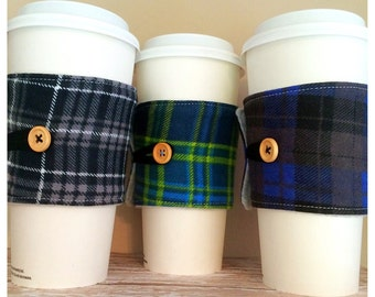 Coffee Cup Cozy, Mug Cozy, Coffee Cup Sleeve, Cup Cozy, Cup Sleeve, Reusable Coffee Sleeve - Flannel Plaid Black Green Blue [43-45]