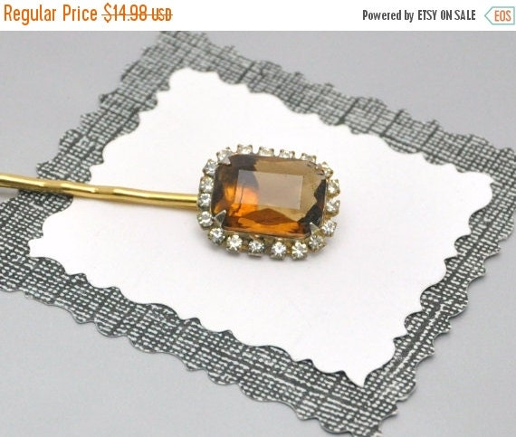 Topaz Rhinestone Bobby Pin Vintage Ice Tea Brown