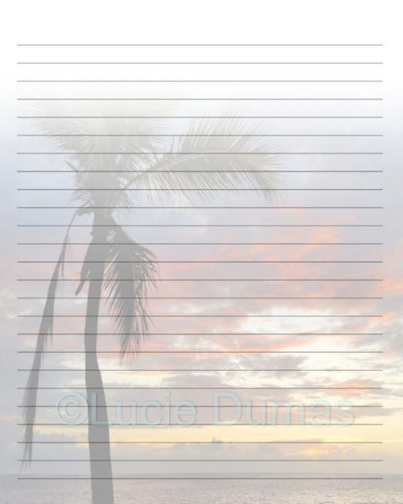Digital Printable Journal Page Stationary 8x10 JPG Download Lined Paper  Photo 12 Palm Tree Beach Ocean Sunset Template Lucie Dumas From  DigitalsbyLucie On ...  Download Lined Paper