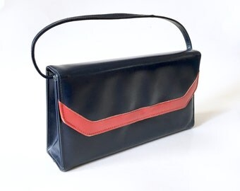 Vintage Mod leather kelly bag,  1960s navy and red purse