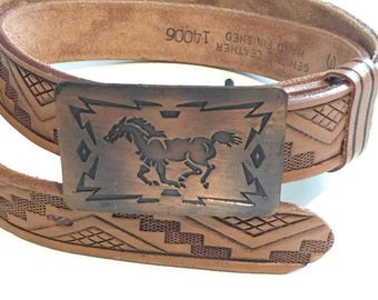 Vintage Southwestern Tooled Leather Belt / Copper Horse Buckle / Size 30 / Chambers Phoenix