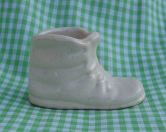 Miniature White Ceramic Baby Shoe Planter or Vase, Very Small Approximately 1 5/8 inches tall