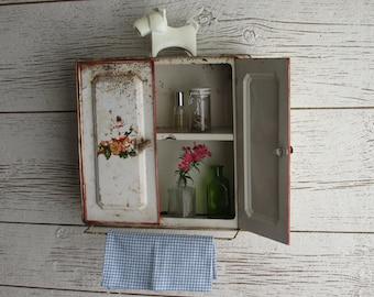 mid century - vintage  - farmhouse - cottage - Metal Cabinet