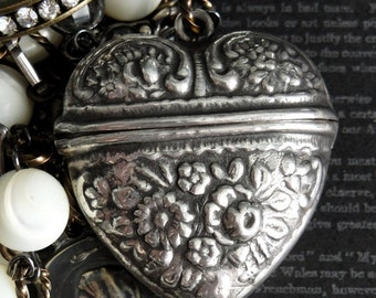 RELIQUARY Antique Heart Rosary Box Necklace. Antique French Medals. Rock Crystal. Mother of Pearl. One Of A Kind. Renaissance Assemblage