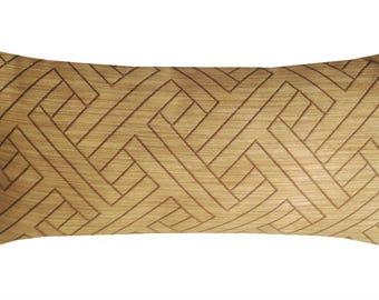 "Linear Jacquard Lumbar Pillow Cover,  Taupe Color Pillows, 12"" x 24"" Pillows, Designer Fabric, Modern Pillows, Modern Home Decor"