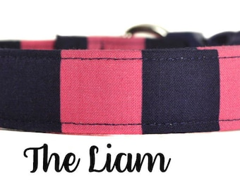 "Navy and Pink Stripe Dog Collar ""The Liam"""