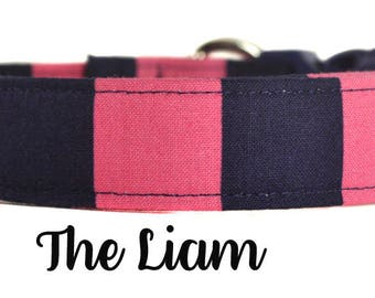 """Navy and Pink Stripe Dog Collar """"The Liam"""""""