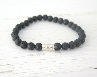 Black Lava Bracelet with Hill Tribe Silver / Unisex Beaded Bracelet / Urban Hipster / Black Bracelet / Earthy Natural Black Bracelet /6mm