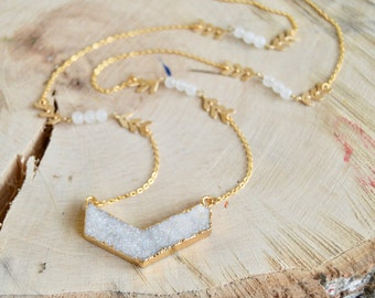 Natural Druzy Long Chevron Necklace