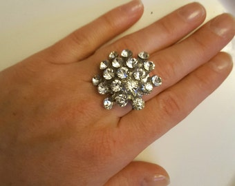 Vintage Clear Rhinestone Adjustable Ring, Silver Tone Rhinestone Ring, Adjustable Ring