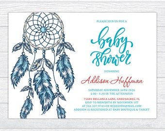 Boho Dream Catcher Baby Shower Invitation, Bohemian Baby Shower Invite, Blue Dreamcatcher Boy Baby Shower Invitation, Printable Boho Shower