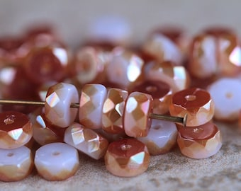 3x6mm Rose Gold Lustered Belly Rondelle Beads, Czech Glass Beads, Fire Polished Faceted Rondelles, Faceted wheel beads (30pcs) NEW