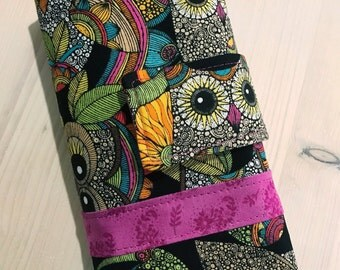 Owl Crochet Hook Case Organizer Roll with Sewn in Zipper Pocket Black Teal Purple Soft Grip Hook and Personalized Option