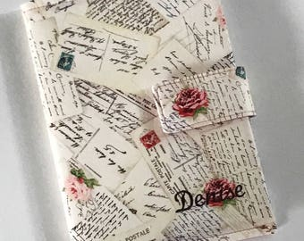 Journal Cover - Personalized Option -  Natural French Post Cards Floral As Pictured on Model - Made to Order