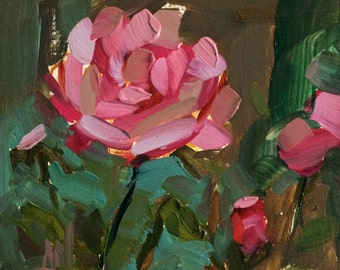 Country Rose no. 5 Original Flower Oil Painting by Angela Moulton 5 x 5 inch on Birch Panel