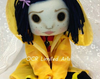 Coraline Button Eye Doll Inspired  Creepy cute OOAK Handmade Art doll cloth doll collectable Gothic decor rag doll button key necklace