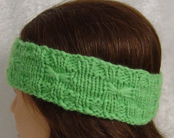 Merino wool green bow headband