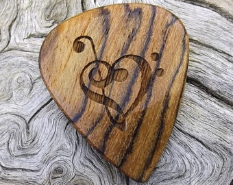 Wood Guitar Pick - Premium Quality - Handmade With Mexican Bocote - Laser Engraved Both Sides - Actual Pick Shown - Artisan Guitar Pick