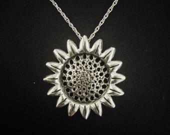 Sterling silver Sunflower necklace, Sunflower jewelry, Flower neckles, Flower jewelry