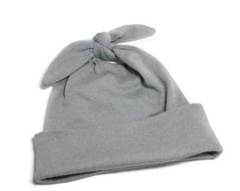Gray Baby Hat | Modern Top Knot Infant Cap | Hospital Homecoming Grey Pull-On Hat | Newborn Baby Hat | Stretchy Gray Knit Baby Hat
