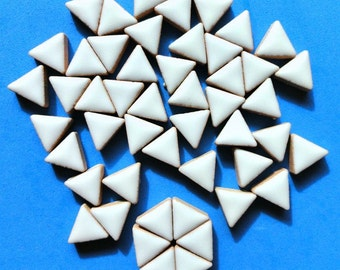 15mm White Glazed Ceramic Triangle Mosaic Tiles//Mosaic Pieces//Mosaic Supplies//Crafts