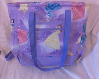 Purple Disney Princesses Tote Bag, Diaper Bag, Carry-On Bag, Book Bag