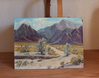 Purple Mountains Painting Signed 1956 Ida Mosberg 9 x 12 inches