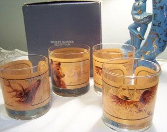 Vintage Wildlife Barware Glasses, Hunting, Fishing, Man Cave, Bear, Deer, Trout, Pheasant, On The Rocks Glasses, Mixed Drinks, Avon