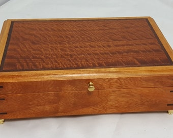 Valet box/ jewelry box Cherry with Curly Sapele lid