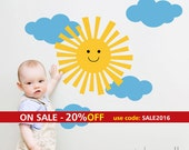 Clouds and Sun Wall Decal, Smiley Sun and Clouds Wall Sticker for Children Baby Nursery Decor, Clouds Wall Decal Sticker, Sun Wall Decal