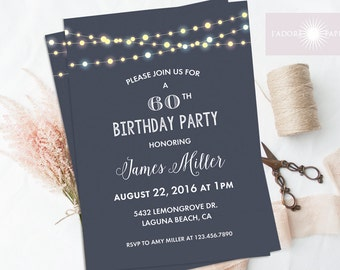 Birthday Invitation, String Light Invite, Men's Birthday Invitation, Gender Neutral, Digital File, Printable Invite, Any Age, jadorepaperie
