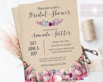 Rustic Floral Bridal Shower Invite, Rustic Bohemian Bridal Shower Invite, Printable Boho Bridal Shower, Gumtree, King Protea, jadorepaperie