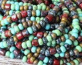 Size 6 Aged Seed Beads and Tubes - Picasso Seed Beads - Jewelry Making Supply - Red Black Turquoise  - Choose Amount