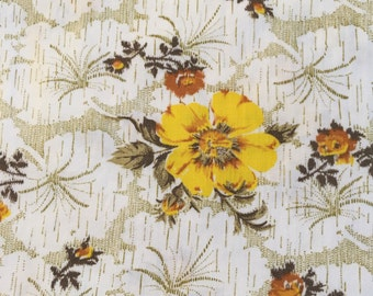 Vintage fabric yellow flower 2 1/3 yards