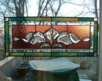 Stained Glass Victorian Panel Transom Bevel Cluster Stained Glass Window Panel Stained Glass Panel  Window Hanging Transom