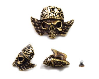 2 pcs. Antique Brass King Skull Concho Screwback Stud Rivet Leather Craft Decorations 28x37 mm. SK SC2837 60DH