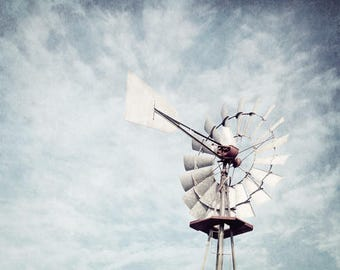 Windmill Photo, Farmhouse Decor, Windmill Wall Decor, Rustic Home Decor, Country Windmill