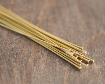 60pcs Gold Head Pins 45mm, 24K Gold plated Brass Headpins, 0.7mm/ 21 Gauge T-Pins (GB-023)